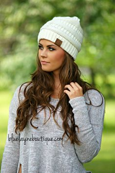 585290b57cb07a Slouchy CC Beanies (Ivory & other Colors) – Blue Layne Boutique