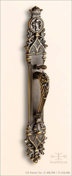 Davide lion head thumblatch - antique bronze - custom door hardware. The design of this Gothic door handle was inspired by the historic architecture of Notre-Dame de Paris, Sacré-Cœur and other magnificent European cathedrals.