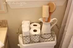 love this idea for guest bathroom! I already have a basket like this- you can get these at Hobby Lobby Office Desk Organization, Bathroom Organization, Organized Bathroom, Basket Organization, Bathroom Storage, Sweet Home, Ideas Para Organizar, Laundry In Bathroom, Basement Bathroom