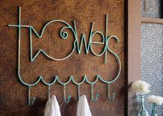 Antique Turquoise Metal Fish Shaped Towel Rack by Kalalou Beach Bathrooms, Bathroom Kids, Kids Bath, Fish Bathroom, Kid Bathrooms, Better Bathrooms, Bathroom Caddy, Bathroom Things, Bathroom Plants