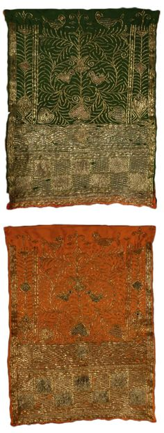 Africa | A bridal veil (front and back shown) from the Arab nomads of Tunisia | ca. early 20th century | Metal strip-wrapped and pulled openwork on two-sided silk twill.