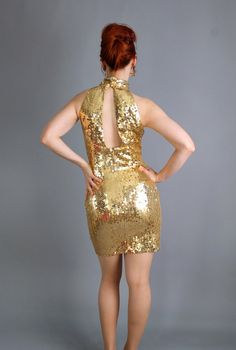 Sexy Hollywood Glam Gold Sequined Cocktail Party Dress. Wiggle Dress. Retro 60s on Etsy, $52.00