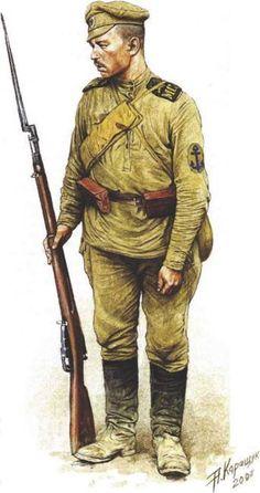 White sailors of Admiral Kolchak.  Морской стрелок 1-го батальона бригады. Май 1919 г
