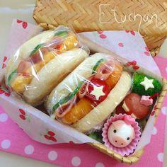 次女のお弁当♡イングリッシュマフィンサンド。(*^^*)
