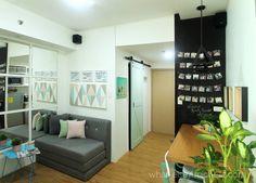 Travel-Inspired Unit for a Young Family of 3 Small Studio Apartment Design, Studio Condo, Condo Interior Design, Condo Design, Studio Living, Apartment Layout, Home Studio, House Design, Apartment Ideas