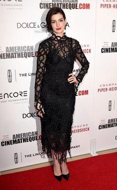 Anne Hathaway in an unexpected Christopher Kane dress.