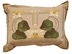 Arts and Crafts embroidered pillow. Craftsman Decor, Craftsman Style, Craftsman Homes, Arts And Crafts Interiors, Arts And Crafts House, Art And Craft Design, Art Deco Design, Art Nouveau Furniture, Creative Textiles