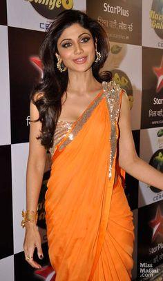 Shilpa Shetty in http://www.MayyurGirotra.com/ #Saree Gown