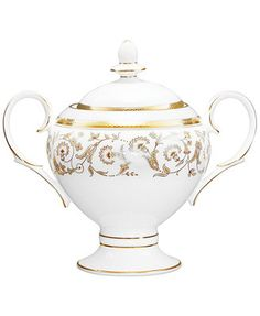 Formal dining gets the golden touch. Embossed with fine foliage details in gleaming gold, this exquisitely crafted sugar bowl by Noritake makes every spread a sensation in dishwasher-safe bone china.