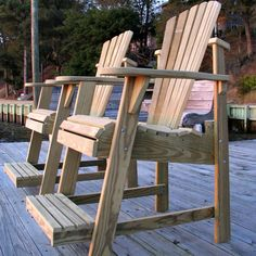 Designers Choice Treated Balcony Adirondack Chair with Footrest - Natural - When you need to create extra seating space on your balcony or patio, this sturdy Weathercraft Designer's Choice Treated Balcony Adirondack Chair with. Backyard Furniture, Pallet Furniture, Rustic Furniture, Outdoor Furniture, Kitchen Furniture, Bedroom Furniture, Furniture Design, Adirondack Chair Plans Free, Adirondack Chairs