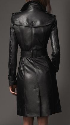 Burberry London Long Leather Trench Coat...aka the only way a ...