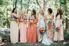 blush and coral mismatched bridesmaids