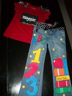 Custom Boutique handpainted girl BACK TO SCHOOL Chalkboard personalized Outfit Jeans Shirt on Etsy, $48.00