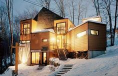 This adorable snow fort in Quebec took seven shipping containers to make. | 23 Surprisingly Gorgeous Homes Made From Shipping Containers If you like please follow our boards!