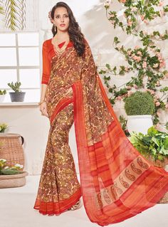 Cream Art Silk Printed Saree With Blouse 97550