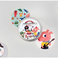 Nacoo Friends circle sticker set with tin case - fallindesign