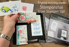 Trying out my new Stamparatus from Stampin' Up! on a Facebook Live video. Birthday note cards featuring the Picture Perfect Birthday stamp set by Patty Bennett
