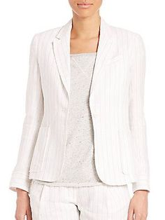 ATM Anthony Thomas Melillo Linen Stripe Schoolboy Blazer - White Strip