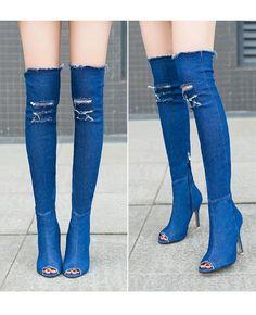400dcda8fb8f7 Stretch Denim Over The Knee Thigh High Peep Toe High Heels Boots SKY BLUE  Thick Heels