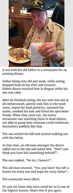 Wow! God Bless this man's son and the customer who spoke out
