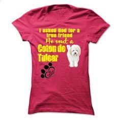 I ask God for a true friend. He sent a Coton de Tulear - #womens hoodies #t shirt websites. SIMILAR ITEMS => https://www.sunfrog.com/Pets/I-ask-God-for-a-true-friend-He-sent-a-Coton-de-Tulear.html?60505