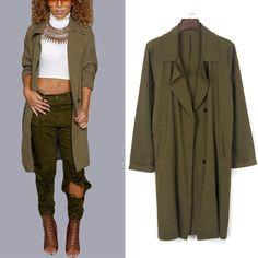 New Fashion Women Long Button Outwear Jacket Overcoat Casual Slim Trench Coat   eBay