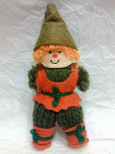 Vintage handcrafted yarn & felt elf ornament. Christmas Decorations, Christmas Ornaments, Holiday Decor, Hair Keepsake, Yarn Dolls, Christmas Projects, Felt Projects, Vintage Christmas, Diy Crafts