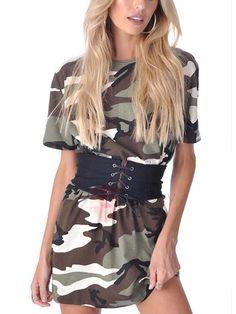 TideBuy - TideBuy Camouflage Short Sleeves Womens Short Dress - AdoreWe.com