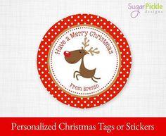 PRINTABLE Christmas Stickers, Christmas Tags, Christmas Reindeer Tags, Christmas Gift tags, Christmas Party Supplies 2.5 inch Circle,   #Stickers #ChristmasGiftTags #ChristmasTreatTags #ChristmasTags #PartySupplies