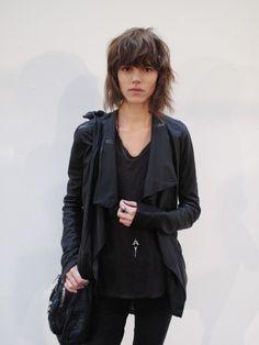 Freja Beha Erichsen, personal style, heavy bangs, black clothes, layers