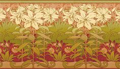 A stunning addition to any Craftsman Style home, this floral wallpaper frieze features fields of exquisitely detailed lilies. Arts And Crafts Movement, William Morris, Craftsman Wallpaper, Lily Wallpaper, Art Nouveau, Art Deco, Lilies Of The Field, Ac2, Arts And Crafts House