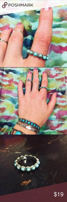 Silver Lucky Brand Turquoise Tambourine Ring Beautiful and great for stacking! Size 7 Lucky Brand Jewelry Rings