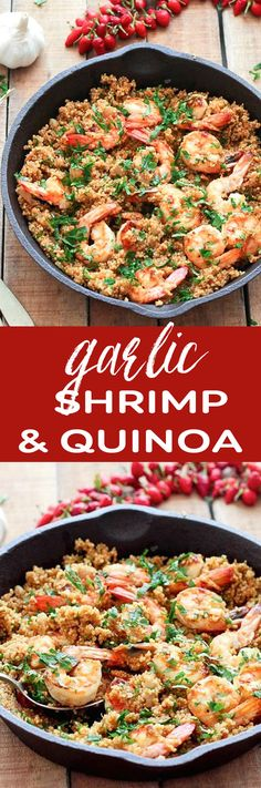 Healthy Recipes Garlic Shrimp and Quinoa. SImple and healthy - be sure to use your own seasoning mixes to keep the sodium low. - Garlic Shrimp and Quinoa - a simple, healthy and gluten-free dinner ready in 35 minutes. Only 260 calories per serving Fish Recipes, New Recipes, Cooking Recipes, Healthy Shrimp Recipes, Recipies, Avocado Recipes, Mexican Recipes, Family Recipes, Garlic Shrimp Recipes