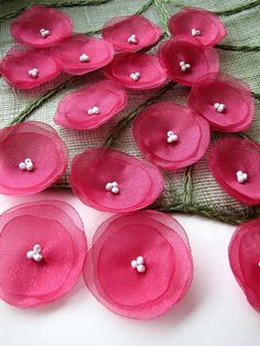 Organza sew on flower appliques, fabric flowers, floral embellishments, handmade fabric flowers for crafts RASPBERRY PINK BLOSSOMS Fabric Embellishment, Applique Fabric, Flower Applique, Organza Flowers, Felt Flowers, Potted Flowers, Hand Embroidery Designs, Ribbon Embroidery, Fabric Crafts