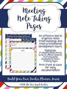 Meeting Note Taking Template Weekly Planning Page  Teacher Organization  Pinterest  Classroom .
