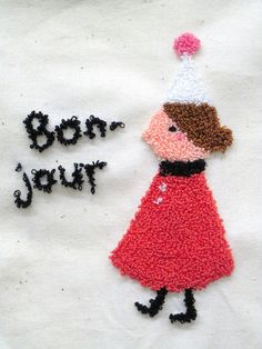 Bonjour.  experimenting with punch needle embroidery