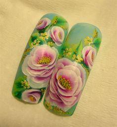 One-Stroke Roses by MargaritaBelska - Nail Art Gallery nailartgallery.nailsmag.com by Nails Magazine www.nailsmag.com #nailart