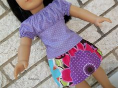 American Girl Doll Purple Top and Flower Skirt. $15.00, via Etsy.