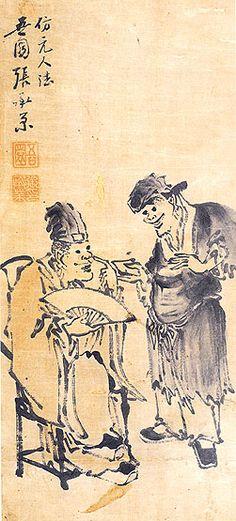 (Korea) Storytelling by Jang Seung-eop colors on paper. Korean Art, Asian Art, Korean Traditional, Traditional Art, Arte Latina, Old Monk, Korean Painting, Art Database, Oil Painting Reproductions