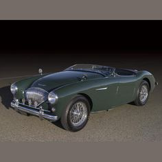 1954 Austin-Healey 100/4 BN1. Built in Sept. 1954, this was a left-hand drive model built for export to the North American market, finished in green and fitted with wire wheels.