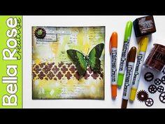 Distress Crayons + Embossing Powder + Modeling Paste - Mixed Media Art Journal - YouTube