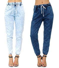 Acid Wash Comfortable Drawstring Pockets Made in USA 11034 Denim Joggers Pants #StyleCreek #joggers