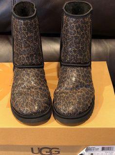 Ugg Classic Short Boots GLITTER Leopard 1006883 BLACK US sz 8 #UGGAustralia #FashionMidCalf