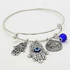 Hamsa Hand Evil Eye Bracelet SILVER BLUE Charm Bangle Jewelry