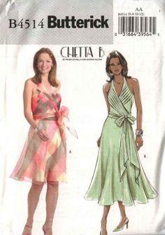Butterick Sewing Pattern 4514 Misses Size 14-16-18-20 Halter Neck Mock Wrap Front Lined Dress  $12.99