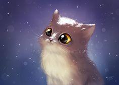 Фото Котенок под падающим снегом, art by leamatte