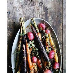 Roasted Carrots And Radish W Anchovy, Gochujang, Ponzu Vinaigrette
