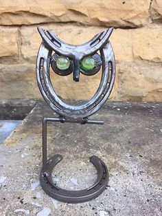 Horseshoe Owl, Horseshoe Art, Owl Statue, Garden Decor, Metal Owl