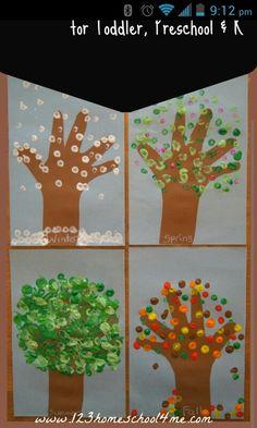 Four seasons hand print trees