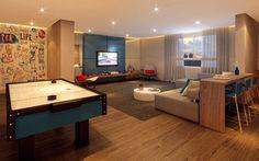 Sala de jogos e home cinema integrados